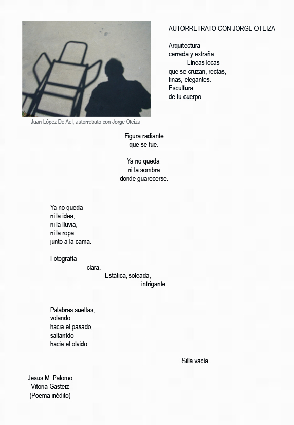 utorretrato con Jorge Oteiza. Fotografía Juan López de Ael. (Vitoria-Gasteiz) Poema Jesús M. Palomo (Vitoria-Gasteiz)