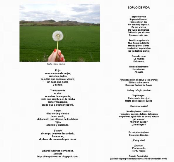 """Poemas de Lisardo Sobrino y Ramón Fernández para la imagen titulada """"Sopla"""" de Hélène Laurent"""