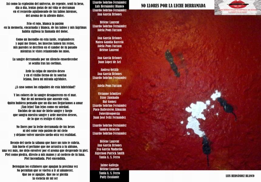 """Poema colectivo, """" No llores por la leche derramada"""" (Los miércoles tampoco muerde)"""