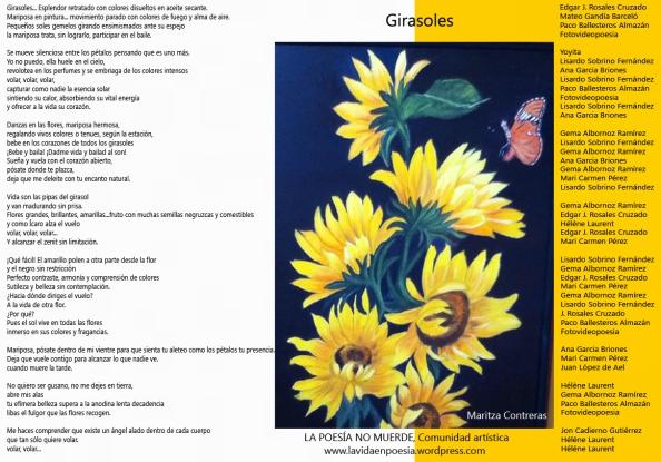 """Girasoles, Poema colectivo """"Los miércoles tampoco muerde"""""""